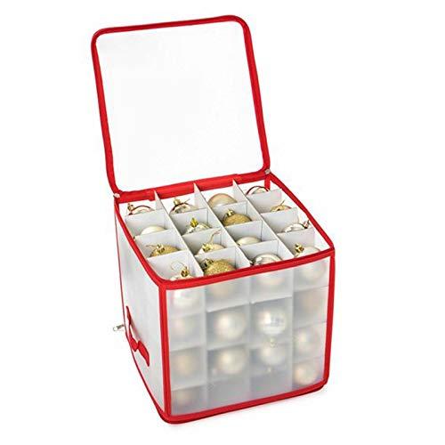 Alecony Weihnachtskugeln Aufbewahrungsbox für 64 Kugeln, Weihnachten Ornament Christbaumkugel Box mit Reißverschluss und Griff, Weihnachtsschmuck Baumschmuck Aufhänger Aufbewahrung Organisation (B)