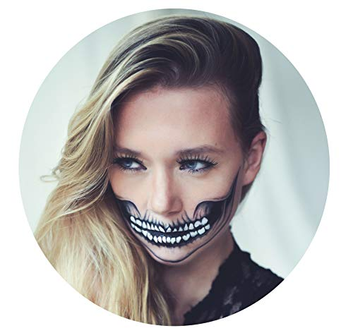 Tattoocrew 4 x Halloween Tattoos Totenkopf Skull zum Aufkleben für Das Gesicht