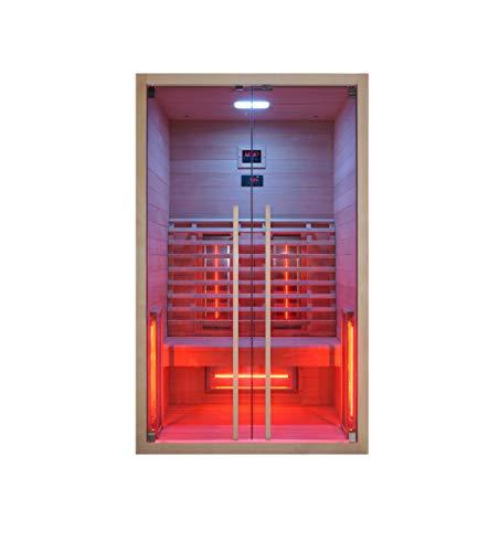 Infrarotkabine 120 x 100 x 195 cm für 2 Personen aus Hemlock Holz   Infrarotkabine mit ergonomischer Rückenlehne   Infrarotsauna mit Farblichttherapie   Wärmekabine mit 2 Zonensteuerung