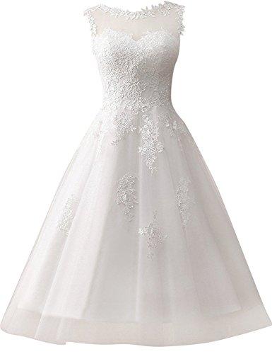 Brautkleid Hochzeitskleider Damen Brautmode Festkleid Tüll Spitze A Linie Wadenlang Weiß EUR32