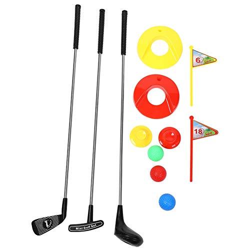 VGEBY Golfschläger Spielzeug Set, Golfspiel Geschenkset Lernspielzeug 3 Golfschläger + 3 Farbbälle + 2 Golf Tee + Übungslöcher mit Flagge für Kinder Kleinkind