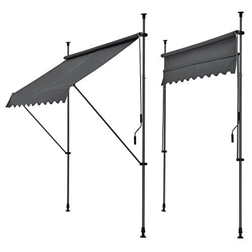 [pro.tec] Klemmmarkise - Grau - 150 x 120 x 200-300cm - Markise Balkonmarkise Sonnenschutz - ohne Bohren
