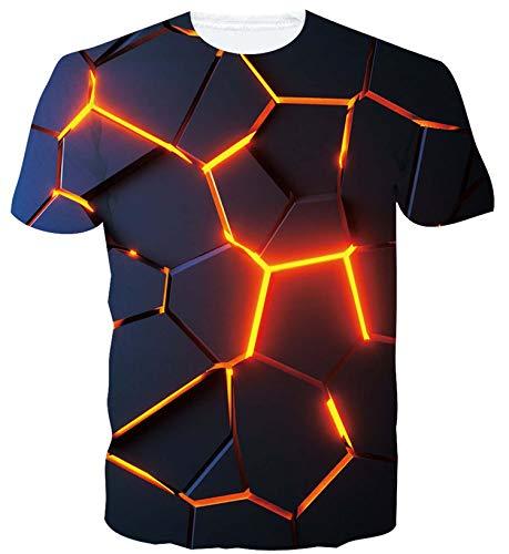ALISISTER Herren Damen Coole T Shirts 3D Neuheit Geometrie Muster T-Shirt Casual Sommer Hawaii Party Kurzarm Tee Shirts L