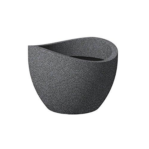 Scheurich Wave Globe, Pflanzgefäß aus Kunststoff, Schwarz-Granit, 40 cm Durchmesser, 22,2 cm hoch, 8 l Vol.