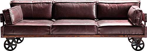 Kare Design Sofa Railway 3Sitzer, moderne, außergewöhnliche Lounge Couch mit Rollen in Vintage-Optik, Braun (H/B/T) 81x232x90cm
