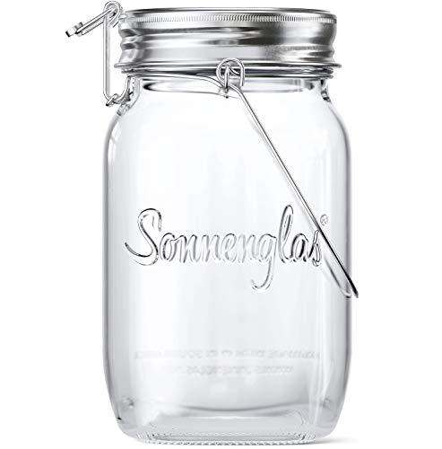 SONNENGLAS Classic 1000ml | Die Original Solarlampe/Solar-Laterne im Einmachglas aus Südafrika (inkl. USB) | warmweiß | Fair Trade | Bekannt aus Pro7 Galileo