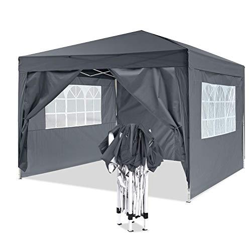 YUEBO Pavillon 3x3, Wasserdicht Faltbare Gartenpavillon Festival Sonnenschutz Faltpavillon mit 4 Seitenteilen und Tragetasche (#Schwarz)