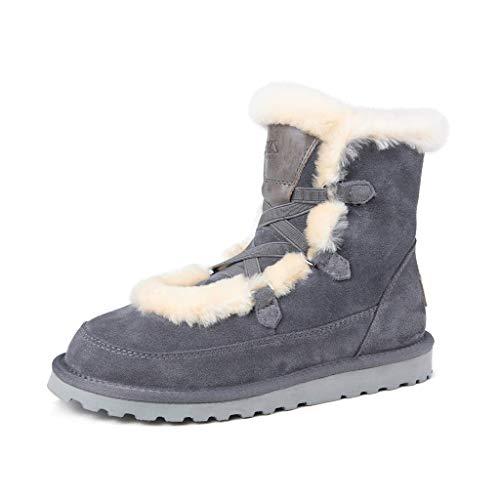 CAICAIL Warm Frauen-Schnee-Boot Mid Kalb Wasserdicht Lace-Up Regen Schuhe Winter Anti-Skid Außenpelzfutter Ankle Boot Lace-Up Wolle Stiefel Baumwolle Schuhe,Grau,40