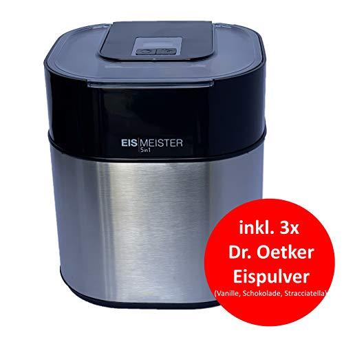 PerfectMix EISMEISTER Eismaschine Eiscreme Maschine 5in1 - Speiseeismaschine Speiseeisbereiter, Sorbet Maschine, Frozen Joghurt Maschine, Softeis Maschine, Fassung 1,5 L, + 3x Speiseeispulver