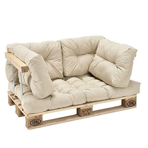 [en.casa] Euro Paletten-Sofa - DIY Möbel - Indoor Sofa mit Paletten-Kissen / Ideal für Wohnzimmer - Wintergarten (1 x Sitzauflage und 4 x Rückenkissen) Beige