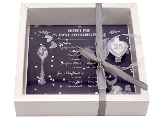 ZauberDeko Geldgeschenk Verpackung Silberhochzeit Geschenk Rezept für 25 Jahre Ehe Silberne Hochzeit