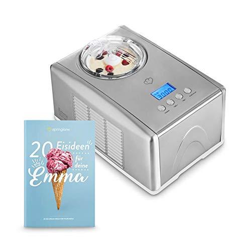 Die Emma Eismaschine mit selbstkühlendem Kompressor für 1,5 L leckeres Eis inkl. einem Rezeptheft, LCD Display, Ice-Cream-Maker aus Edelstahl & Abschaltautomatik, Eisbehälter zum herausnehmen.