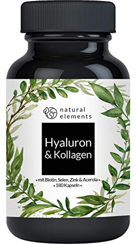 Hyaluronsäure Kollagen Komplex - Einführungspreis - 180 Kapseln - Angereichert mit Biotin, Selen, Zink, Vitamin C aus Acerola & Bambusextrakt - Laborgeprüft & hergestellt in Deutschland