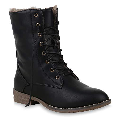 Warm Gefütterte Damen Stiefeletten Worker Boots Kunstfell Schuhe 125875 Schwarz Braun Brooklyn 40 Flandell