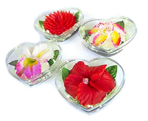 Thailändische Exotische Blumen Satz aus 4 Hand geschnitzten dekorativen Seifen mit Jasmin Aroma ätherisches Öl, Handgemachte Blüte Seife Schnitzerei von Handwerker