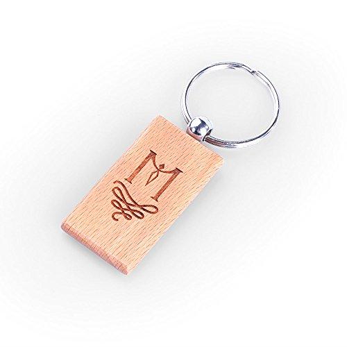 NTLux Personalisierter Rechteckige Holz Schlüsselanhänger - Handgefertigt mit Laser Gravur - Beste Geschenkeideen für Männer, ihn, Freunde, Weihnachten, Geburtstag, Hochzeit, Vaterstag, Valentinstag