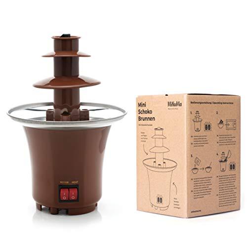 Minuma® Schokoladenbrunnen | Leckeres Schokofondue über 3 Ebenen | Leckerer Schokoladen-Dip in 3 Etagen für exklusiven Nachtisch und Desserts | Süße Kaskaden aus der Schoko-Fontaine | Farbe braun
