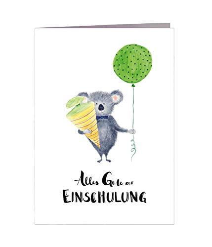 Karte Einschulung Mädchen Junge Koala DIN A6 mit Umschlag - Handmade in Hamburg - 100% Recyclingpapier Karte Einschulung Schultüte Einladung