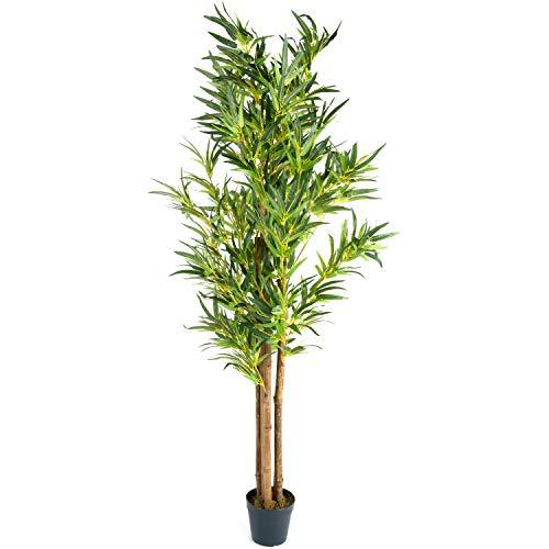 PLANTASIA Bambus-Strauch, Echtholzstamm, Kunstbaum, Kunstpflanze - 160 cm, Schadstoffgeprüft