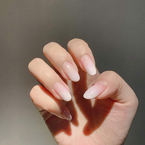 LIARTY 24 stücke 12 Verschiedene Größen Ellipse Künstliche Falsche Nägel Glatte Milchig Weißer Farbverlauf Gefälschte Nägel.