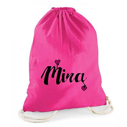 Pinker Statement-Turnbeutel mit Namen (personalisiert) - Schriftzug mit Herzen,Einschulung,Schulanfang & Deko, für Mädchen