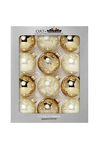 KREBS & SOHN 12er Set Glaskugeln - Weihnachtsbaumschmuck zum Aufhängen - Christbaumkugeln Sortiment - Gold Elfenbein