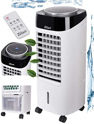 3in1 Air Cooler | 7 Liter Kapazität | Mobile Klimaanlage | 3 Geschwindigkeitsstufen | Klimagerät | Luftreiniger | Klima Ventilator mit Fernbedienung | Luftkühler | Aircooler (Weiß/Schwarz)