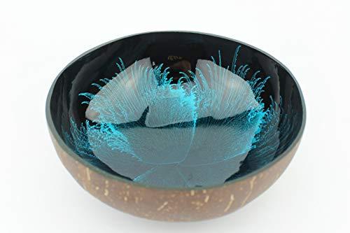 Batriozo Einzigartige Kokosnussschale – Edles Design – Hochwertige Dekoschale – 100% Handgemacht und Umweltfreundlich – Vielseitig Einsetzbar – Coconut Bowl – Buddha Bowl – Blau