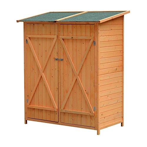 Outsunny Holz Gerätehaus Geräteschuppen Gartenschrank Geräteschrank Gartenhaus 159 x 139 x 75 cm