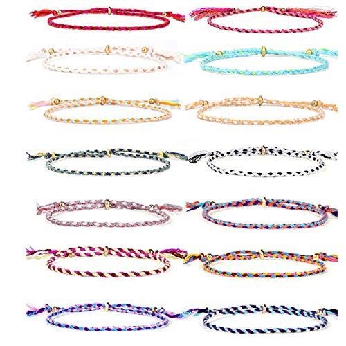 14 x Freundschaft bunte Armbänder - GOODCHANCEUK Handmade Wave Armband verstellbare geflochtene Freundschaft Schnur Armband für Frauen Teen Girls Set#2