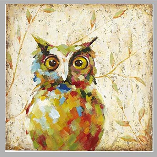 ZXMPGYH Malen Nachteule Bilder handgemalte abstrakte Tierbilder auf Leinwand Moderne lustige Nighthawk Malerei Wandkunst