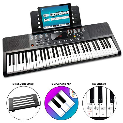 RockJam 61 Key Tastatur-Klavier mit Noten und Notenständern, Klavier Hinweis-Aufkleber, Netzteil und einfach Piano Anwendung