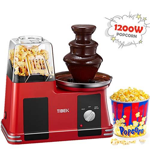Popcornmaschine für Heimkino, gehören Schokoladenbrunnen, 2-in-1-Popcorn Maker, Einfache Installation und Bedienung, Recht Leicht,BPF-frei, 1200 W