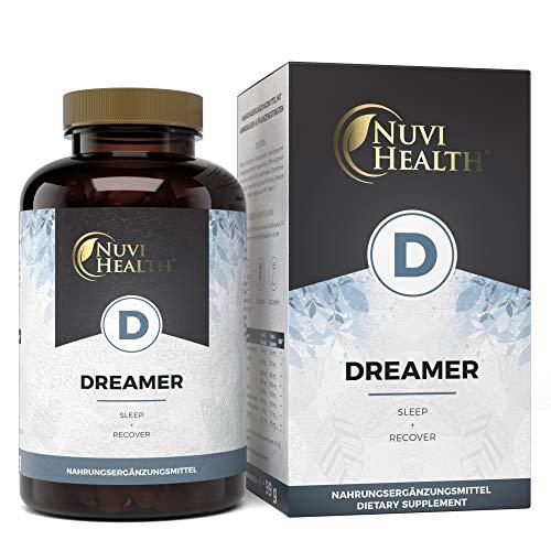 Nuvi Health Dreamer - Mit 5-HTP, L-Tryptophan, GABA, Hopfen, Melissenextrakt & Schwarzer Peffer - 120 Kapseln - Laborgeprüfte Qualität - Hochdosiert - Vegan - Pflanzlich