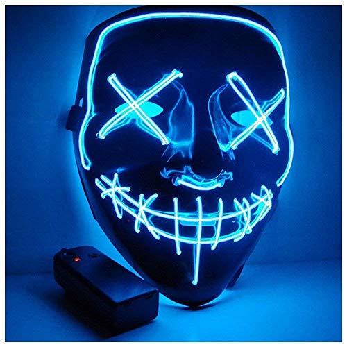 Sinwind LED Purge Maske, LED Mask mit 3 Blitzmodi für Party Halloween Fasching Karneval Kostüm Cosplay Dekoration (Blue)