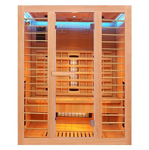 Home Deluxe – Infrarotkabine Redsun L Deluxe - Vollspektrumstrahler und Karbon-Flächenstrahler, Holz: Hemlocktanne, Maße: 153 x 110 x 190 cm   Infrarotsauna für 2-3 Personen, Infrarot, Kabine