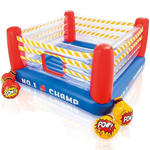 Multistore 2002 Boxring aufblasbar 2.26x2.26x1.10m für Kinder, inkl. Boxhandschuhe, Hüpfburg