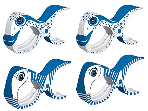 tuuli Accessories Große Clips Strand Klammern für Strandtuch Wäscheklammern Klammer Strandliege Yacht Kinderwagen Zubehör (2X Blau + 2X Fisch)
