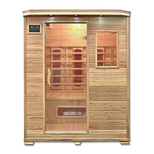 Home Deluxe – Infrarotkabine Redsun L – Keramikstrahler, Holz: Hemlocktanne, Maße: 153 x 110 x 190 cm   Infrarotsauna für 2-3 Personen, Sauna, Infrarot, Kabine