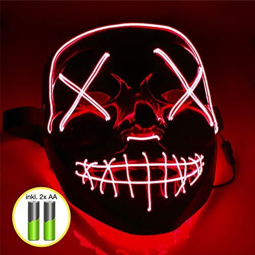 TK Gruppe Timo Klingler LED Grusel Maske rot - wie aus Purge inkl. Batterien mit 3X Lichteffekten, steuerbar, für Halloween als Kostüm für Herren & Damen (rot)