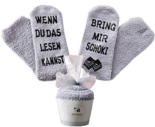Schokolade Geschenk, Schokolade Socken, Adventskalender Geschenke für Frauen, WENN DU DAS LESEN KANNST BRING MIR Schoki, Geburtstagsgeschenke für Frauen,Freundin,Mama,Schwester,Weihnachtsgeschenke