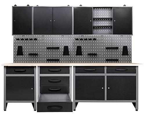 Ondis24 Werkstatt Werkstatteinrichtung 8 tlg. grau Werkbank Werkzeugschrank Lochwand