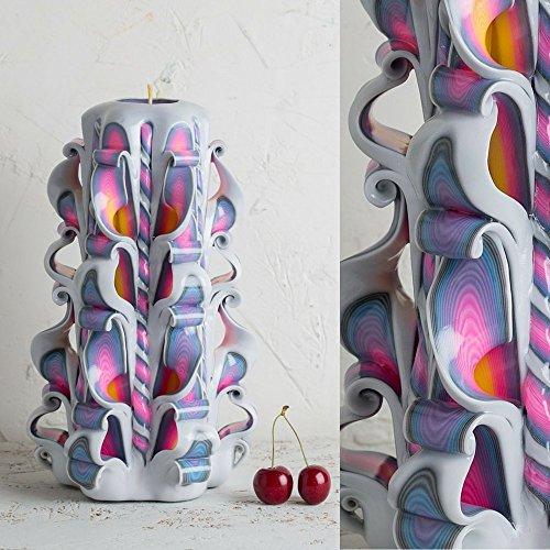Geburtstagskerzen, geschnitzte Kerzen, weiße Regenbogen-Kerze, dekorative Kerzen - handgemachte EveCandles