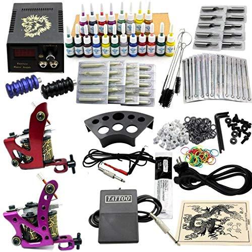 Tätowierung Komplett Kit YUNRUX Tätowiermaschine mit 2 Tattoo Maschine Netzgerät 20 Farben 50 Nadeln Komplettset Tattoo Set