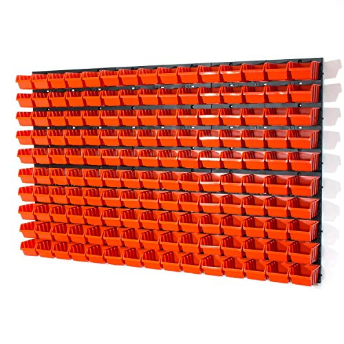 150 Stapelboxen Rot mit wandregal 120 x 80 cm | boxen lager wandplatten wandpaneel werkstatt garage