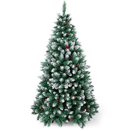 Sunjas Weihnachtsbaum künstlich, 120/150/180/210 cm Tannenbaum mit Schnee-Effekt, mit Tannenzapfen und rote Beere Deko, beschneiten Spitzen und Kunsttanne, inkl. Metallständer (120cm)