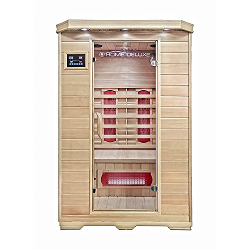 Home Deluxe – Infrarotkabine Redsun M - Keramikstrahler, Hemlocktanne, Maße: 120 x 105 x 190 cm   Infrarotsauna für 2 Personen, Sauna, Infrarot, Kabine