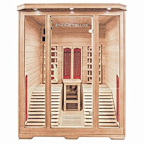 Home Deluxe – Infrarotkabine Maui – Keramikstrahler, Holz: Hemlocktanne, Maße: 150 x 150 x 190 cm   Infrarotsauna für 1-2 Personen, Sauna, Infrarot, Kabine