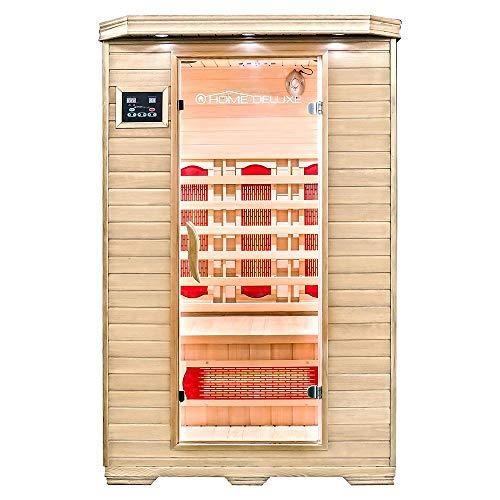 Home Deluxe – Infrarotkabine – Redsun M – Vollspektrumstrahler – Holz: Hemlocktanne - Maße: 120 x 105 x 190 cm – inkl. vielen Extras und komplettem Zubehör   Infrarotsauna für 2 Personen, Infrarot, Kabine