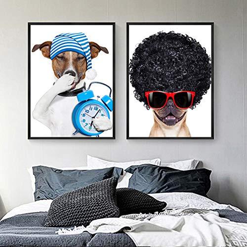 FANBUHUA Tierbilder Dekor Kinderzimmer Kreativität Lustiger Hund Nordic Poster Druck Moderne Leinwand Gemälde Wandkunst